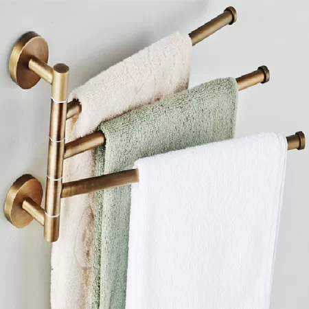 European copper gold towel rack Toilet towel bar Bathroom antique rotary towel bar Antique activities towel 3 bar  BR-88013