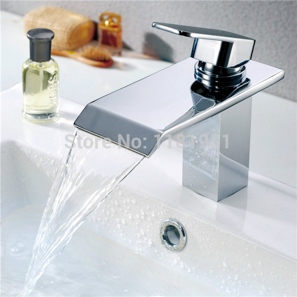 Square High End Waterfall Basin Bathroom Faucet Mixer A1015