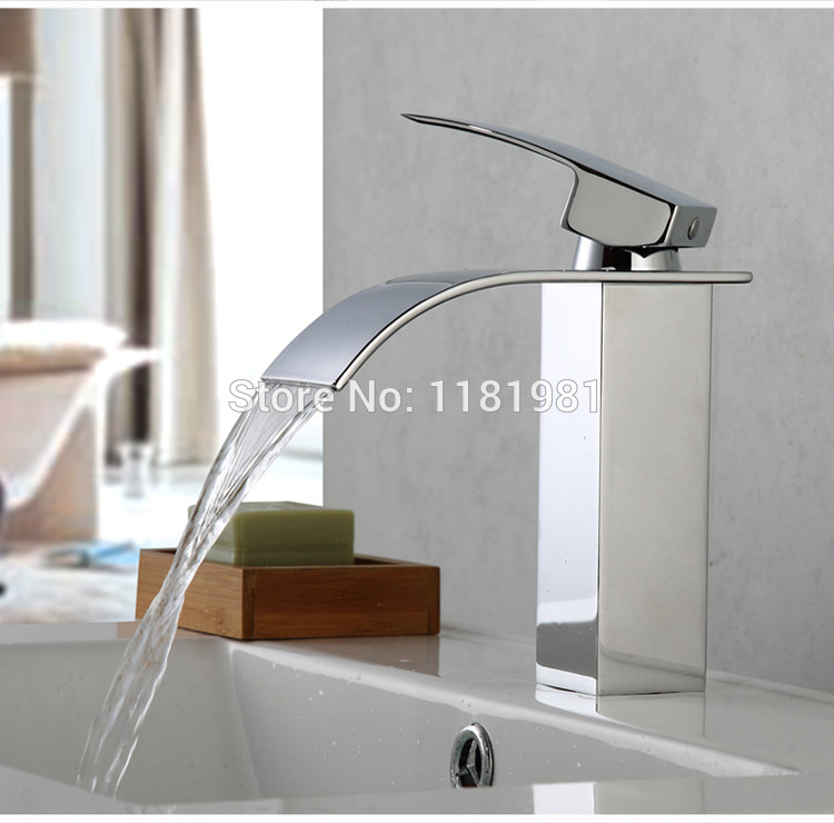 Cheap brass waterfall bathroom faucet chrome finishing basin faucet A1006