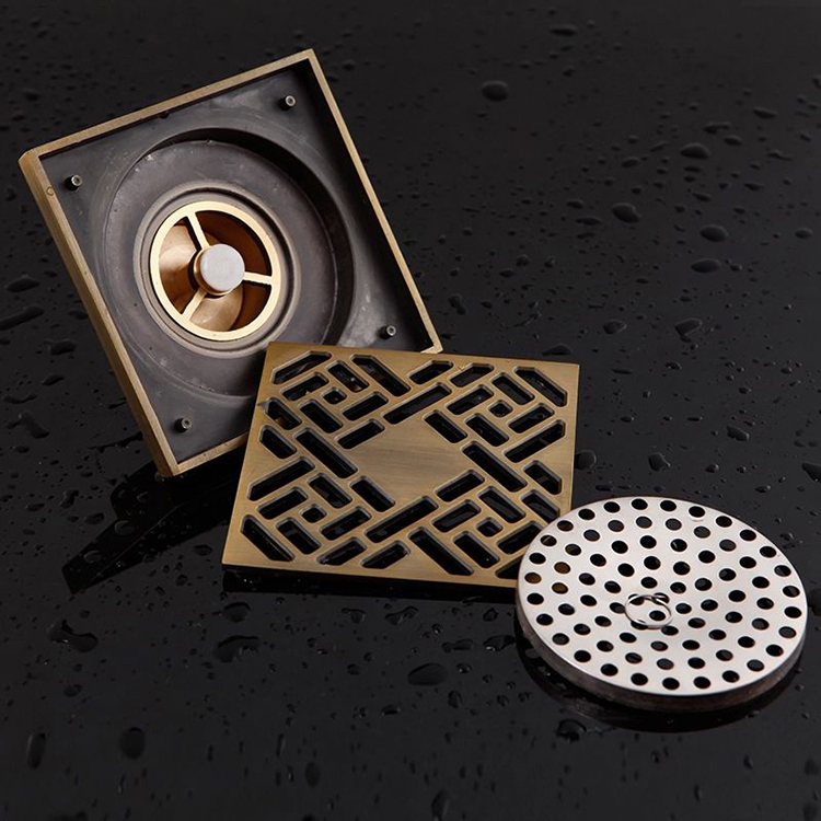 Delicieux Drainers Luxury Brass Art Carved Flower Decorative Cover Bathroom Floor  Waste Grate Shower Drain Floor Square ...