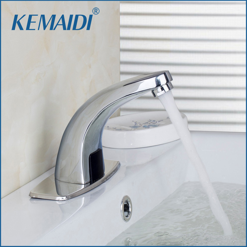 KEMAIDI Bathroom Basin Sink Tap Faucet Automatic Sensor Faucet Chrome Deck Mounted Hot And Cold Mixer