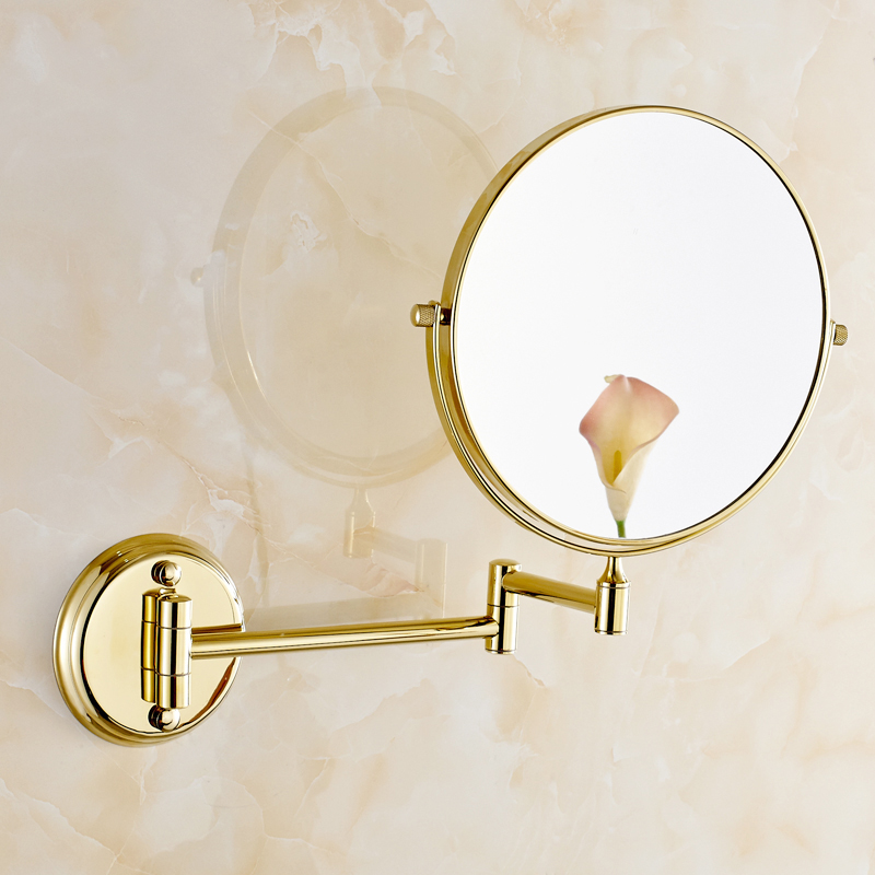 OWOFAN Bath Mirrors 8 Inch Dual Makeup Mirrors 1x3 Magnifying Brass Cosmetic Bathroom Double Faced Wall Mount Golden 1308A