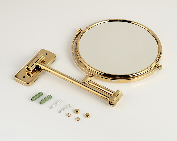 OWOFAN Bath Mirrors 8 inch Bathroom Folding Brass Shave Makeup Mirror Golden Wall Mount Round Base 3x Magnifying Mirror 1208A