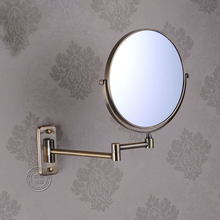 OWOFAN Bath Mirrors 8 Inch 2 Side Bathroom Folding Brass Makeup Mirror Antique Wall Mount Extend With Arm 1:3 Magnifying 1208F