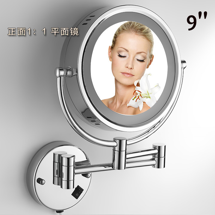 Bath Mirrors Chrome Magnifying Bathroom Wall 9 Inch Brass Round LED Makeup Lighting Mirror Illuminator Make-up Mural 2068
