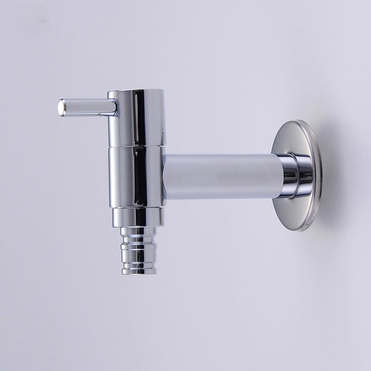 Bibcocks Chrome Brass Washing Machine Faucet Modern Wall Mounted Pool Sink Tap Also For Garden Use Cold Taps Bibcock  HJ-0201