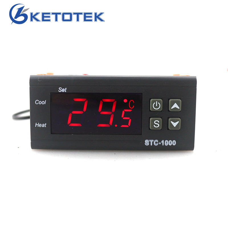 STC-1000 Digital Temperature Regulator Controller Two Relay Output LCD with 1m Sensor 110~220VAC 10A Thermostat for Incubator