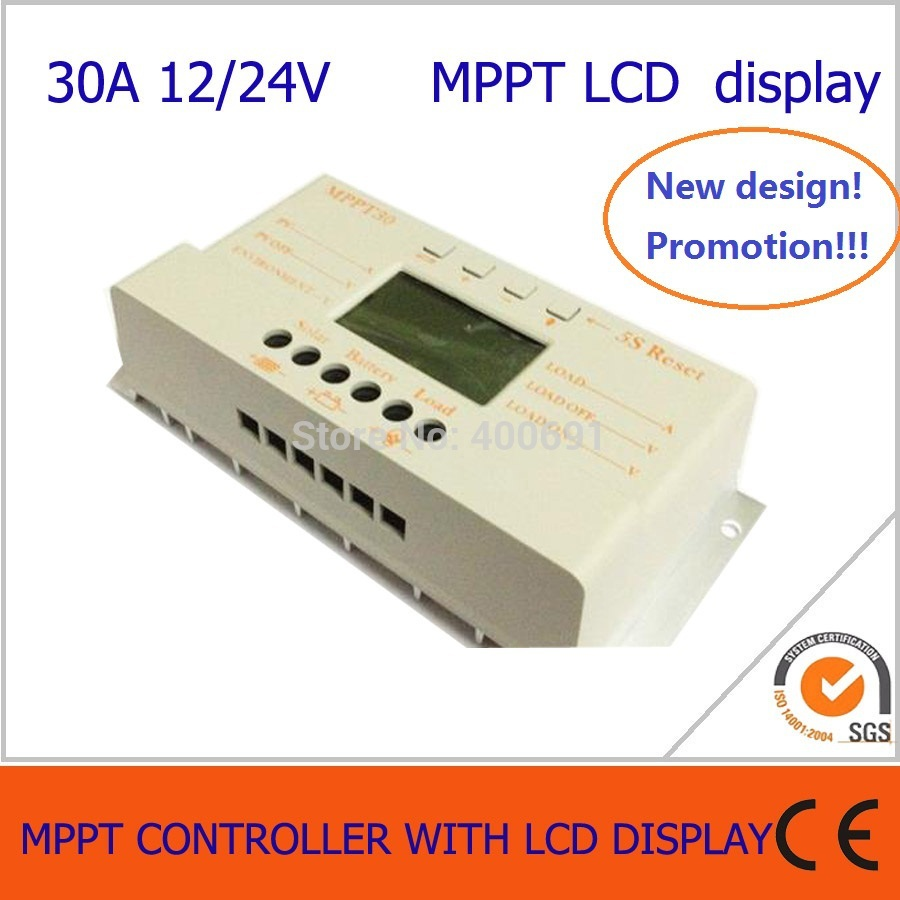 30A MPPT solar charge and discharge controller 12V 24V auto work with lcd display