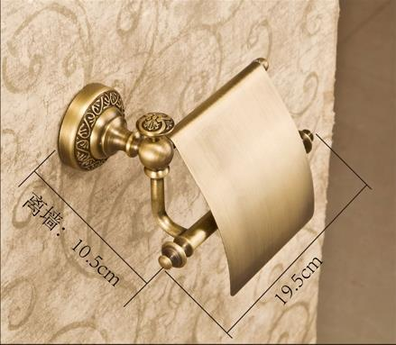 Wall Mounted Antique Copper Toilet Paper Holder With Cover Bathroom Holder