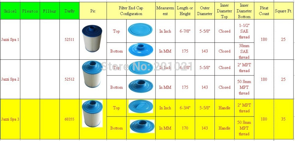 Jazzi spa filter Length 170 diameter 143 Handle 50.8mm MPT thread  Darlly 60388 6 pcs/lot EMS/FEDEX DHL UPS fast shipping