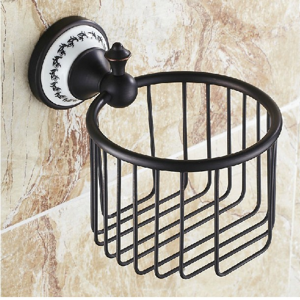 Black bronze toilet paper holder Cosmetics shelf