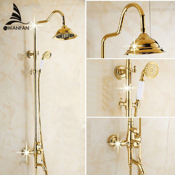 Bath Shower Sets Luxury Gold Brass Shower Faucet Set Single Handle Single Holder Dual Control Bathtub Mixer Hand Shower GY-8336