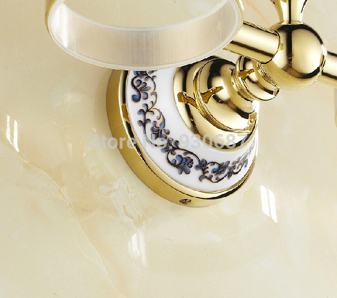 Luxury Gold Plate Bathroom Dual cups W/ Toothbrush Holders With Rhinestone