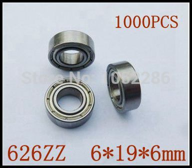 1000pcs  626ZZ  miniature radial ball bearing 626 626Z shielded deep groove ball bearings 6*19*6mm