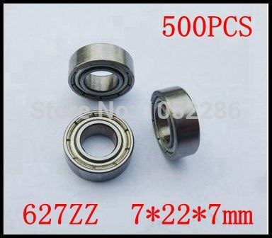 500pcs/lot  high quality  627ZZ miniature radial ball bearing 627 627Z  627-2Z shielded deep groove ball bearings 7*22*7mm
