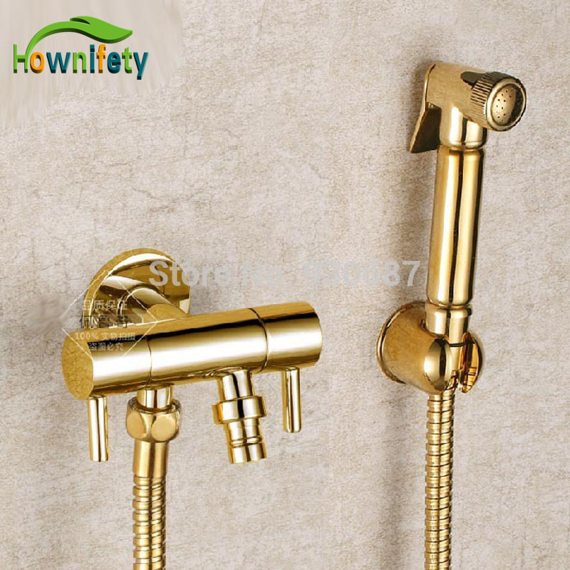New Gold Plate Bathroom Soild Brass Wall Mount Dual Handles Bidet Faucet