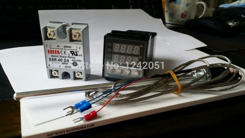Digital PID Temperature controller + max.40A SSR + PT100 thermocouple probe
