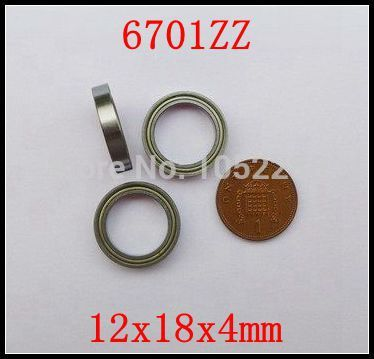 200pcs/lot  6701ZZ  thin wall bearing  6701Z  6701 - 2Z  shielded ultra-thin deep groove ball bearings 12x18x4 mm