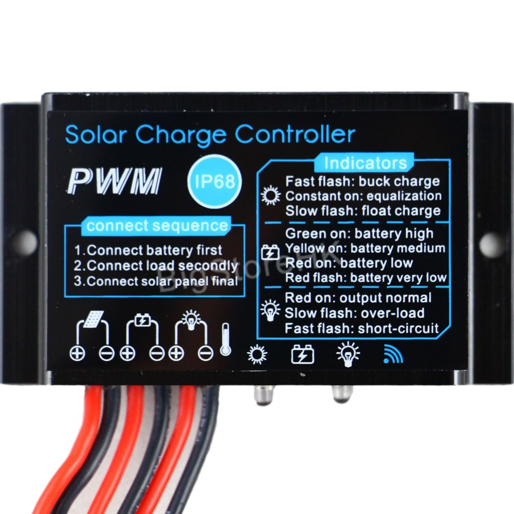 10A Solar Charge Controller 12V Waterproof IP68 Solar panel battery charge controller outdoor use for solar PV system