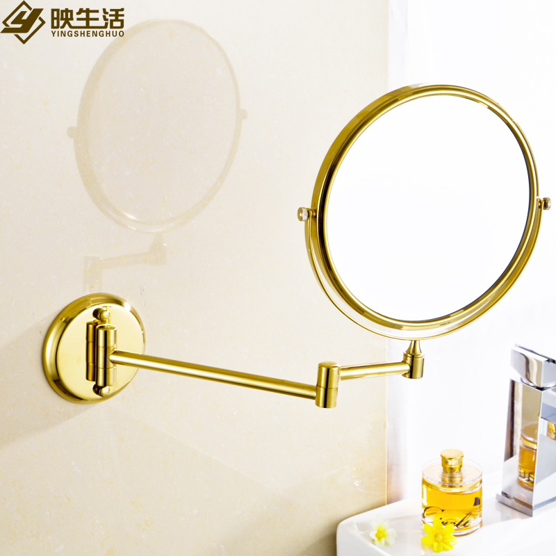Copper folding cosmetic mirror fashion gold plated 8 bathroom makeup mirror antique wall-mounted retractable mirror