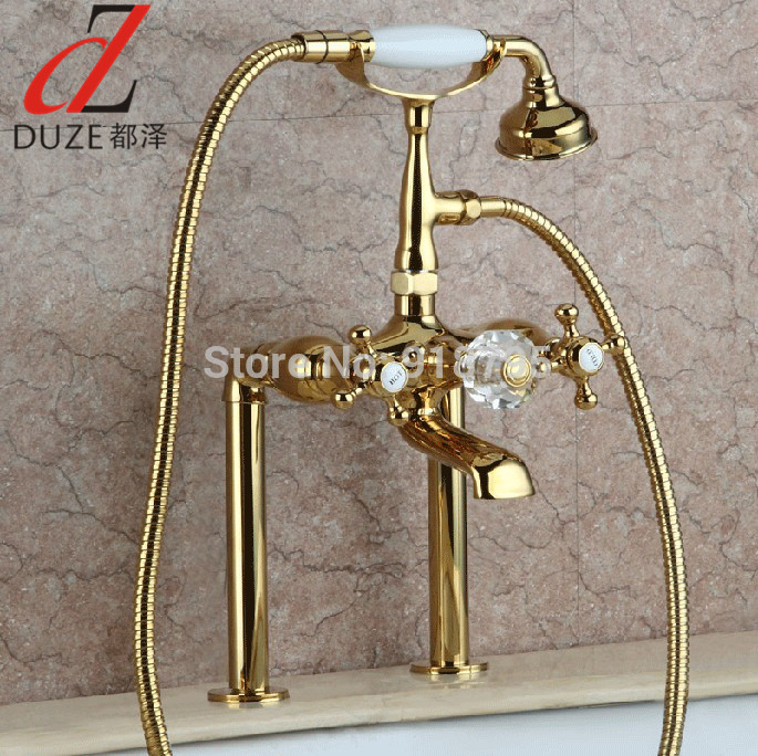 Luxury Brass Deck Mounted Bathtub Faucet, Stand Bathtub Mixer, Bronze Finish Bathtub Tap 20013-499