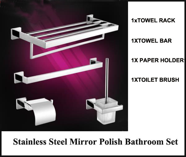 Brand New Stainless Steel Bathroom Hardware Set Include Paper Holder Towel Rack Towel Bar  Toilet Brush Holder Mirror Polish
