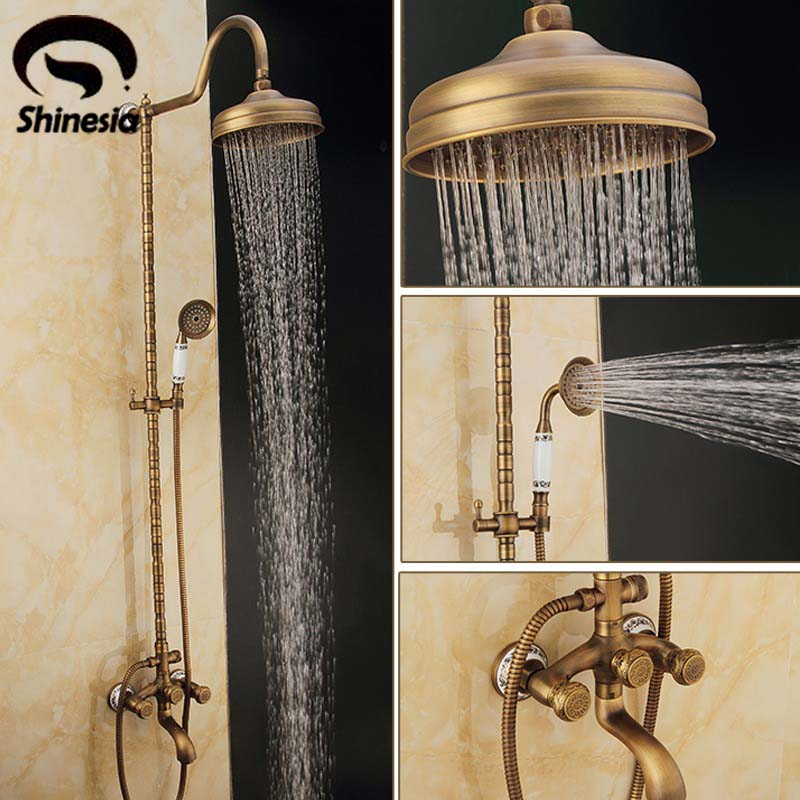 "New 8"" Rainfall Shower Head With Ceramics Handheld Shower Antique Brass Shower Set Faucet Mixer Tap Wall Mounted Dual Handles"