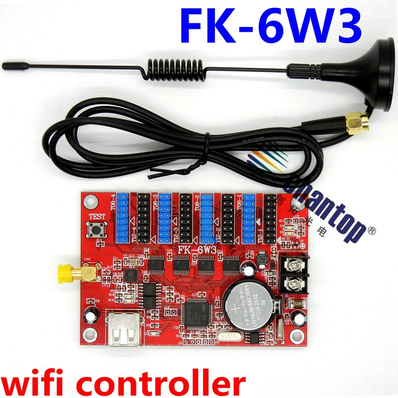 FK-6W3 wifi wireless &USB support single/ double/rgb color display screen control card 1344*48pixels led panel module controller