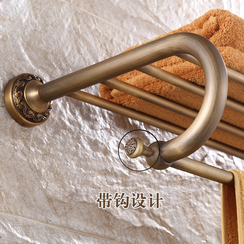 Classical Antique Brass Bathroom Wall Mounted Carved Flower Towel Shelf