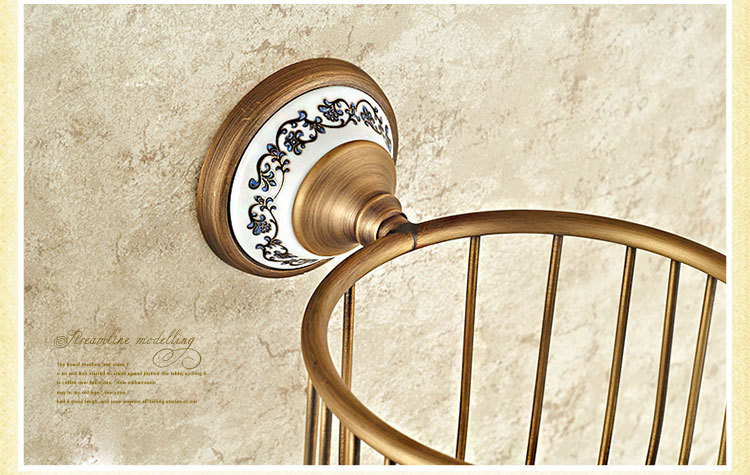 Wall Mounted Antique Brass Finish Bathroom Accessories Toilet Paper Holder bathroom sets ceramic printing toilet roll holder