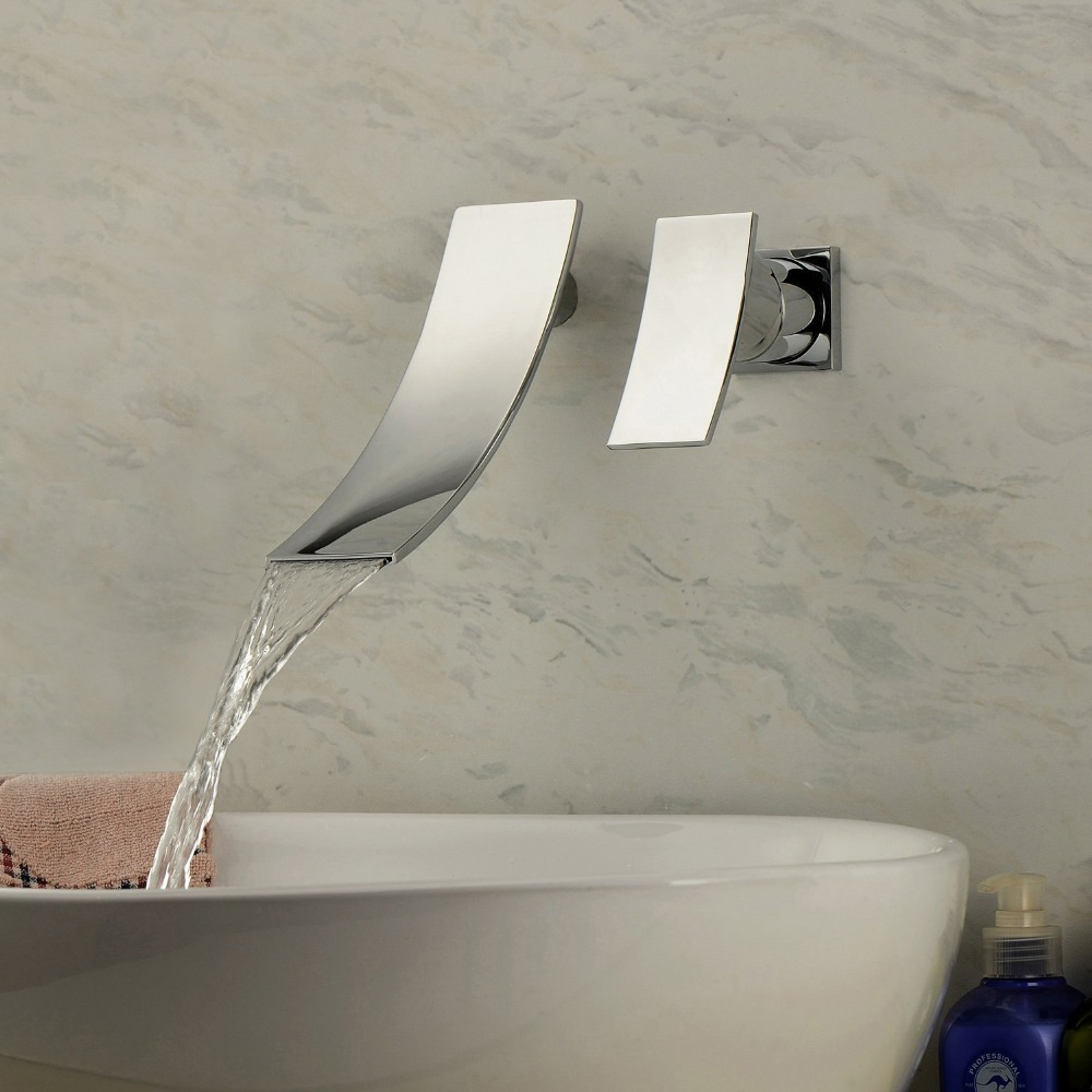 Hahn tap robinet bath faucet grifo Contemporary Chrome Finish Waterfall Wall Mount Stainless Steel Bathroom Sink Faucet