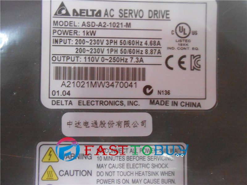Delta CNC 220V 1KW AC Servo Motor Drive kits System 4.77NM 2000r/min 130mm  ECMA-E11310RS+ASD-A2-1021-M Keyway with 3M Cable