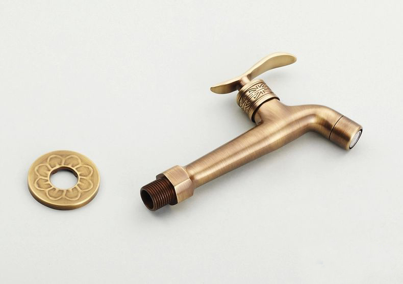 2014Long garden use Bibcock faucet tap crane Antique Brass Finish Bathroom Wall Mount Washing Machine Water Faucet Taps HJ-8661F