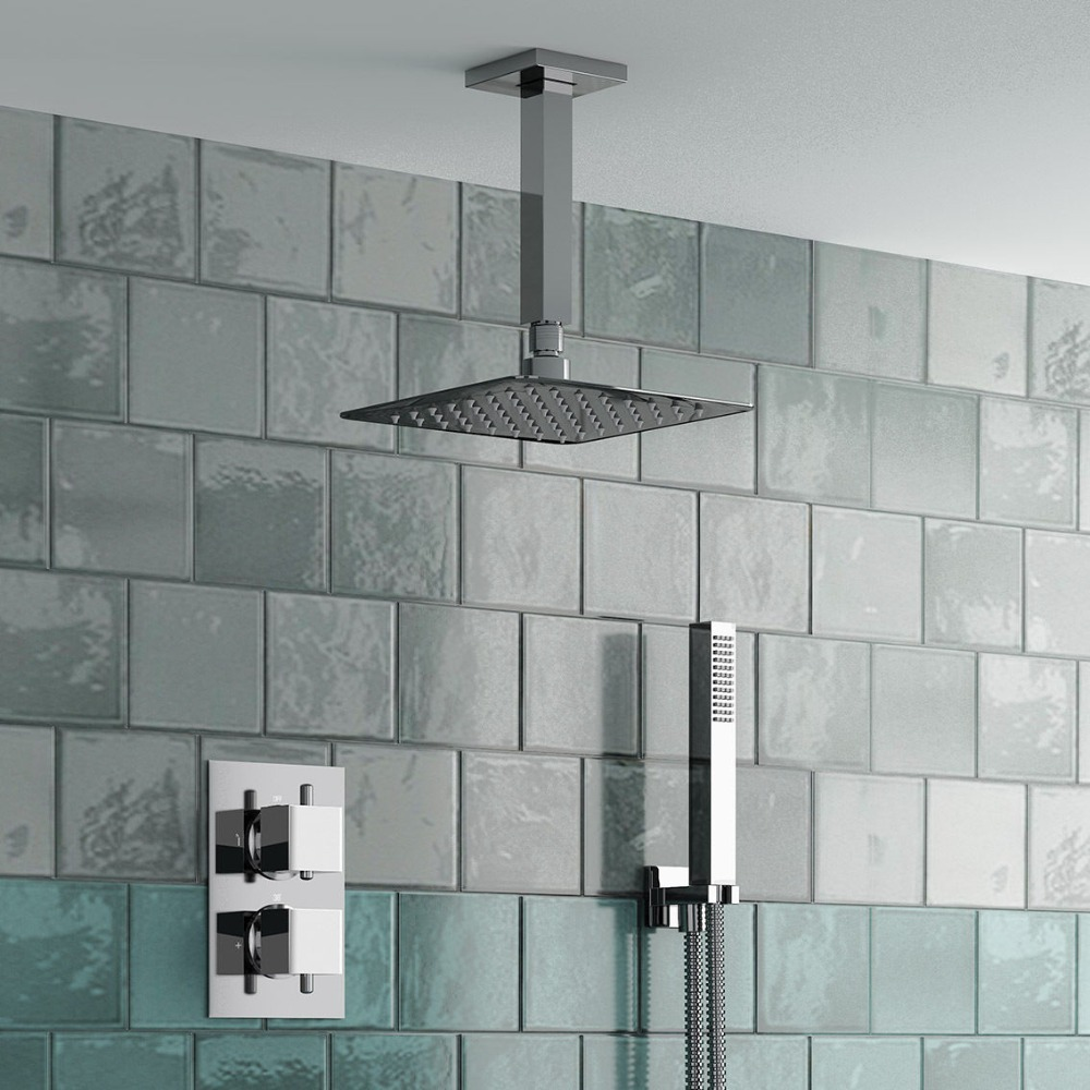 "Bathroom Thermostatic Shower Head Set ( Thermostatic Mixer Valve + 8"" Square Head + Hand Held ) SS615"