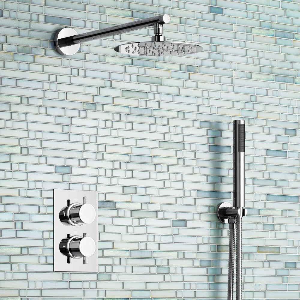 "8"" Ultra Thin Round Mixer Thermostatic Shower Head Set with Bathroom Valve Chrome Hand Held Head"