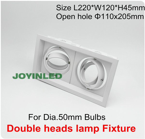 Double heads grille light fixture white square ceiling cups for GU10/MR16 Bulb spot lamps Halogen MR11 holder aluminum fitting
