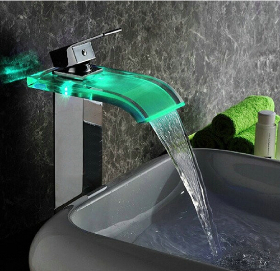 New style color changing LED Basin Faucet Bathroom Brass Waterfall Faucet Basin Faucet Sink Mixer Sink Tap Led Faucet