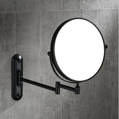 "8"" ORB Double Side Bathroom Folding Mirror  Wall Mounted Extend with Dual Arm 1x3x Magnifying make up mirror"