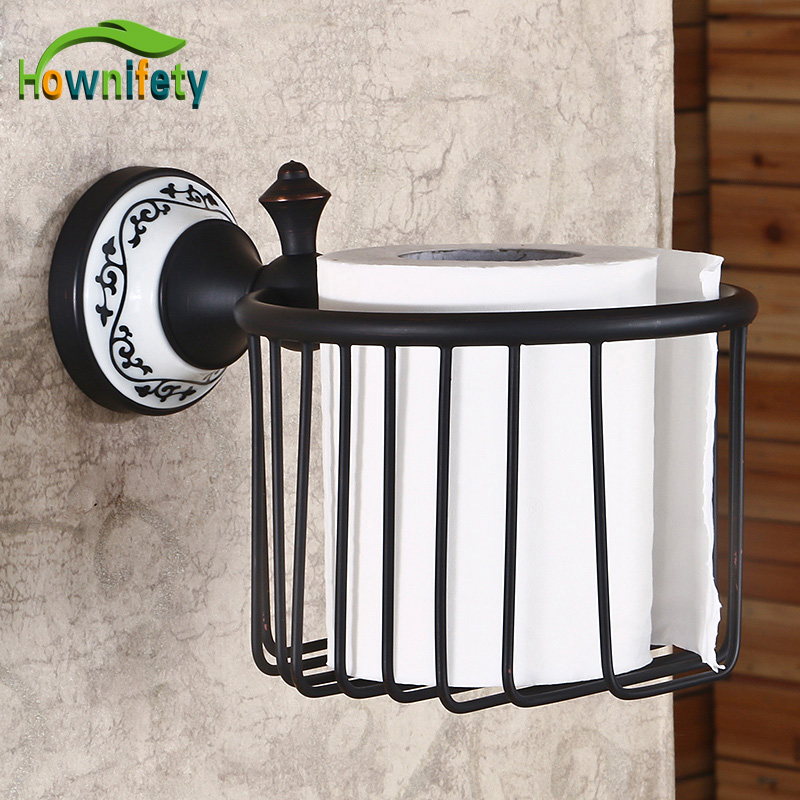 Oil Rubbed Bronze Bathroom Flower Painted Wall Mounted Toilet Paper Holder