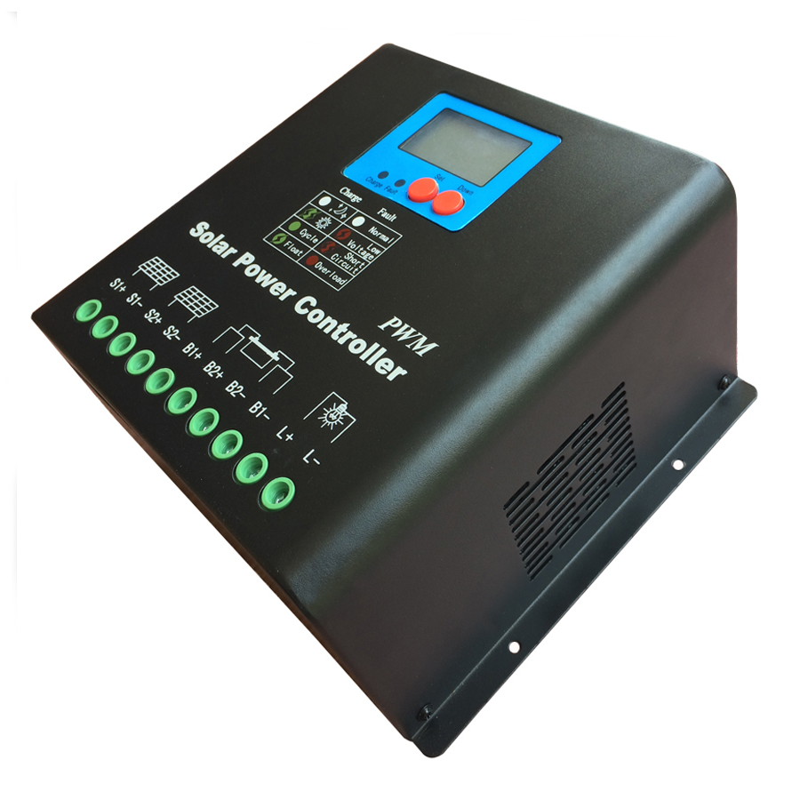 30A 220V or 240V Solar Charge Controller, High Voltage Battery Regulator 30A for 7200W PV Panels Modules, Dual-fan cooling