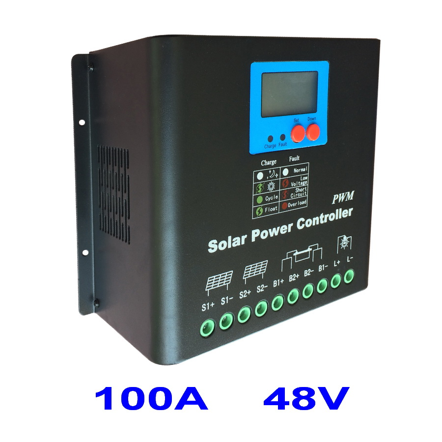 Dual-fan cooling 100A Solar Charge Controller 48V PV Panel Battery Charge Regulator for 5000W Off Grid Solar Power System