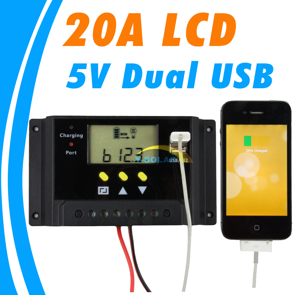 20A LCD solar charge controller Dual 5V USB 12V 24V Solar Panel Battery Charger Control Light and Timer Control New 20 Amps