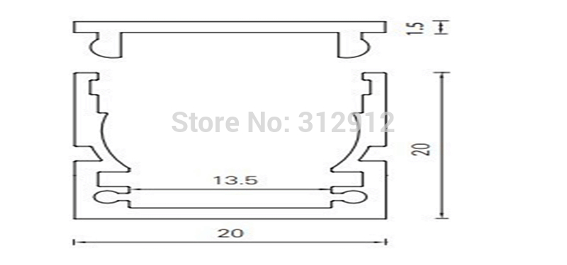 RA-2020;1M long aluminum profile with PC cover;for flexibe and rigid LED strips;for 13mm pcba