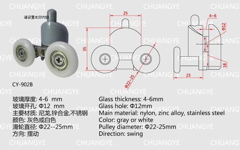 Nylon Glass Thickness 4 6mm Glass Hole 12mm Pulley