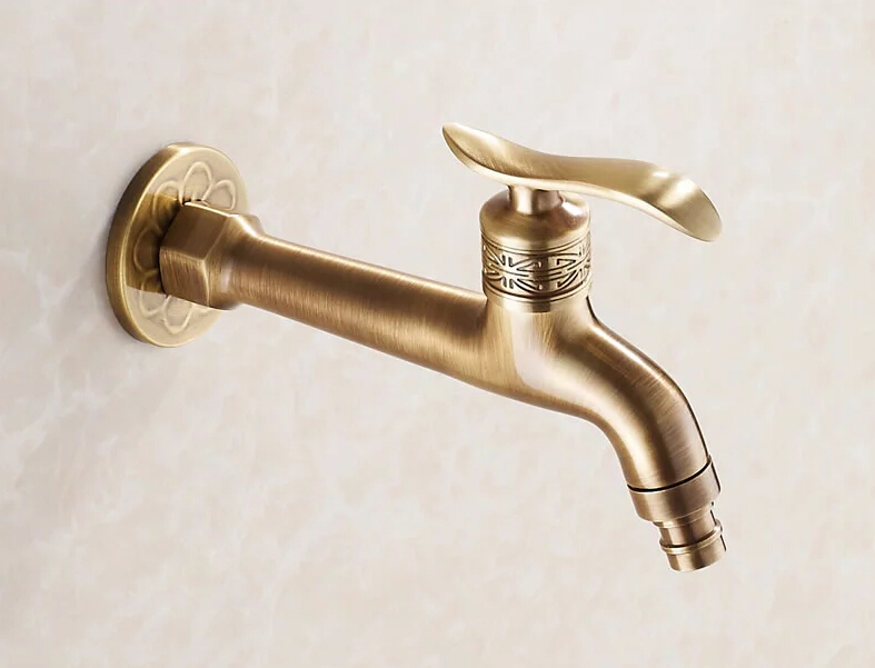 Long Garden Use Bibcock Faucet Tap Crane Antique Brass Finish Bathroom Wall Mount Washing Machine Water Faucet Taps