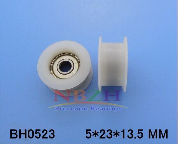 10pcs/lot 5*23*13.5 Flat H groove plastic coated nylon pulley bearing embedded bearing pulley