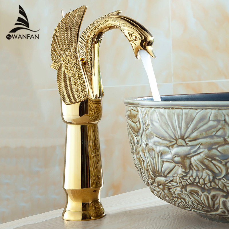 Basin Faucets New High Swan Faucet Arch Design Luxury Wash Mixer Taps Brass Hot And Cold Taps Gold Plated Single Hole Tap HJ-36K