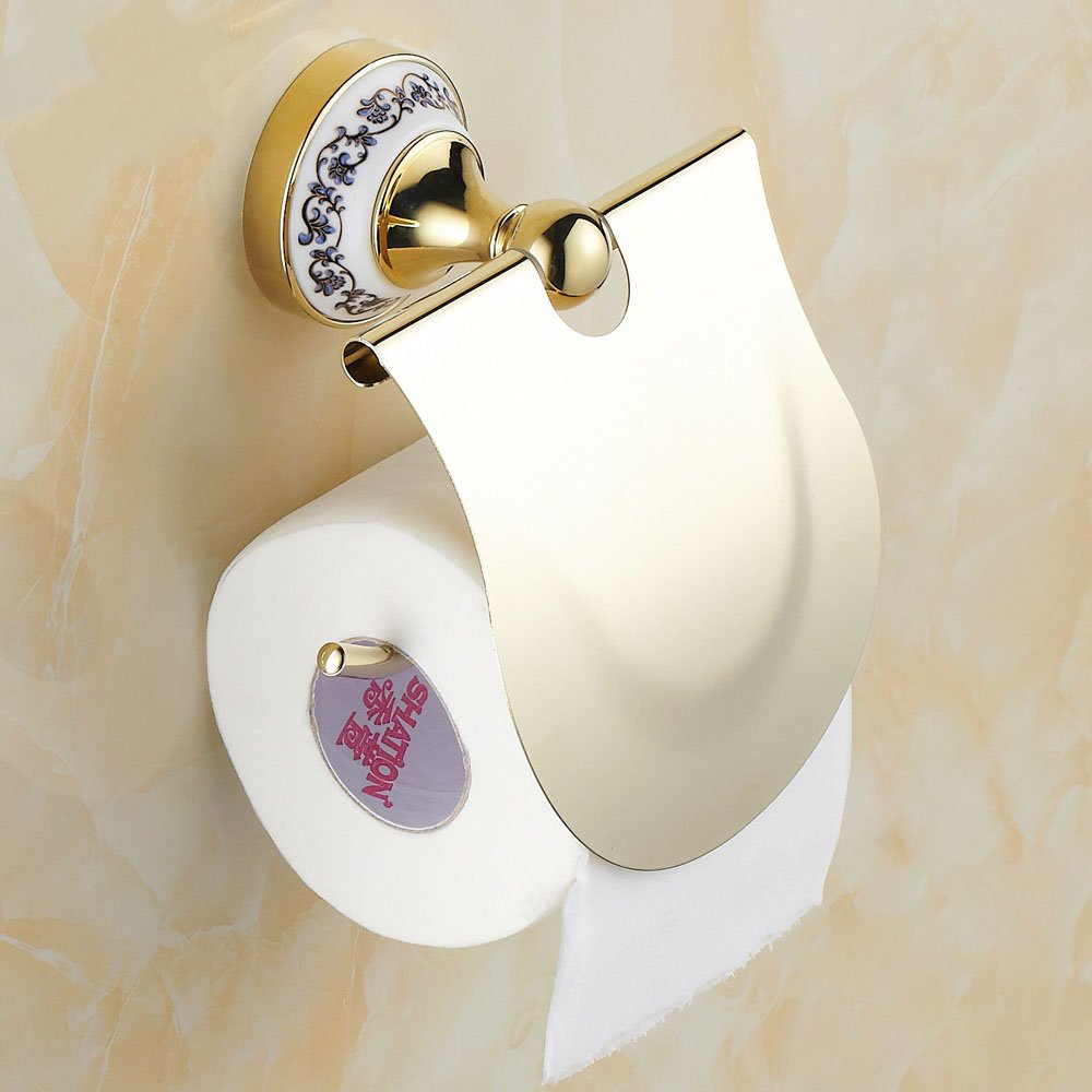 Roll Toilet Paper Holder Continental Antique Gold Bathroom Box Tissue New   toilet paper holder toilet paper
