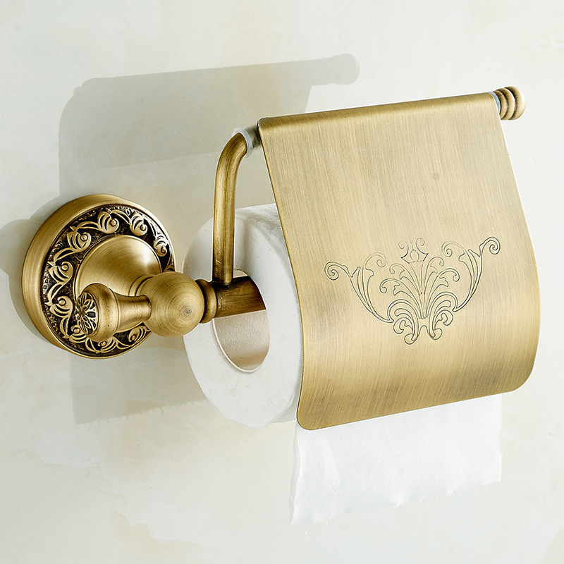 Paper Holder Brass Toilet Classic Carved Roll Paper Holder Wall Mounted Toilet Bathroom Hardware European Style DG-8308F