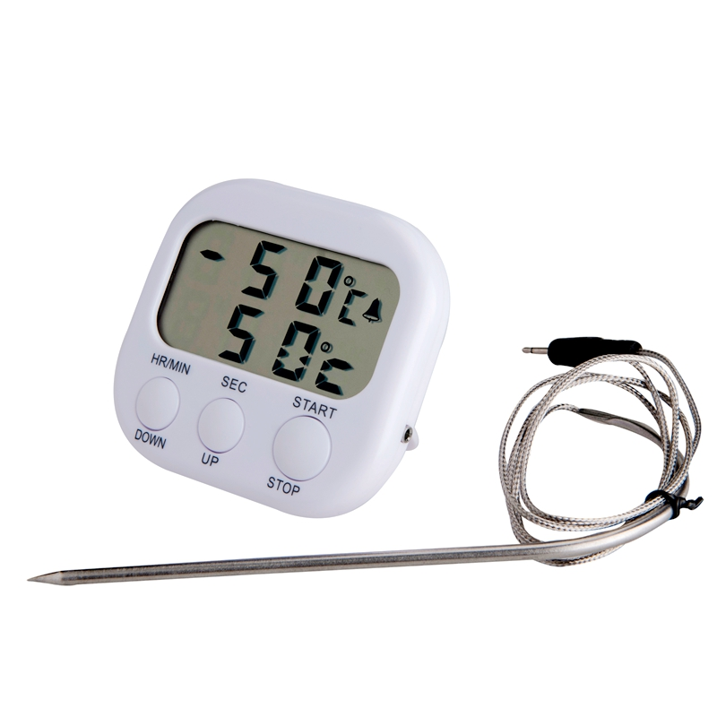 New LCD -50C-300C Food Thermometer Alarm Timing Timer White Digital Cooking Kitchen BBQ Temperature Meter With Steel Sensor